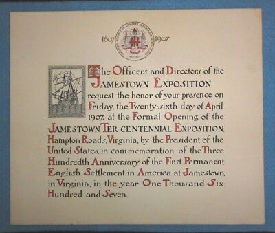 1907 Jamestown Exposition Opening, Invitation, By President Theodore Roosevelt.