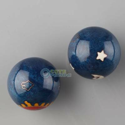 Chinese Health Exercise Hand Stress Baoding Balls Ying Yang Blue Color Design