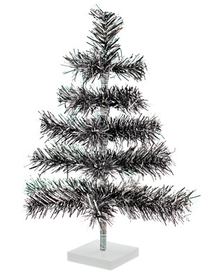 18'' Black/Silver Christmas Tree Tinsel Feather Style Holiday Tree 1FT Table-Top