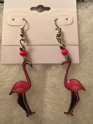 "Flamingo Artsy Pink Enameled Pierced Earrings 2 1/8"" long"
