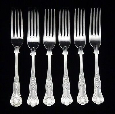 """6 Heavy Vintage Dinner Forks 8"""" Silver Plated Kings Pattern Cutlery Epns A1"""
