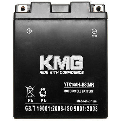 YTX14AH-BS KMG Maintenace Free 12Volt Battery Powersport Sportbikes Cruisers SMF