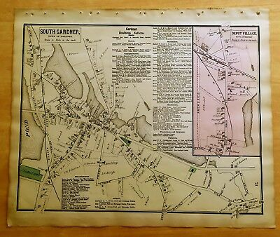 Original 1870 Map SOUTH GARDNER Depot Village MA Massachusetts BEERS Antique