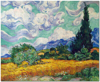 Wheatfield with Cypress Tree - Hand Painted Van Gogh Oil Painting Art 60x50cm
