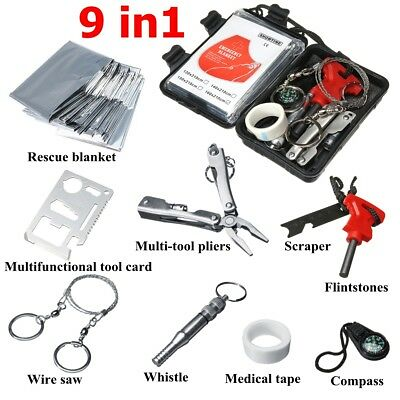 9 in 1 SOS Emergency Tactical Survival Camping Equipment Kit Outdoor Gear Tool