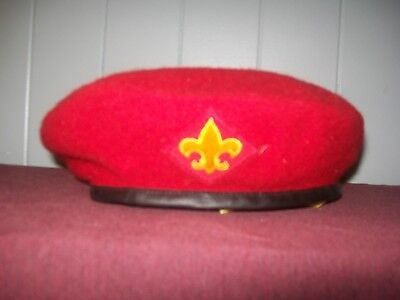 ff88eb593cdd6 VINTAGE OFFICIAL BOY SCOUT America BSA RED WOOL BERET HAT SIZE LARGE 7 1 8