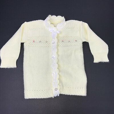 Vintage Infant Knit Yellow Cardigan Sweater Button Front Lace Trim Flowers 0-6mo