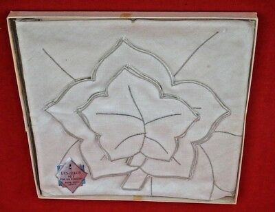 Vintage:   Unused Pure Irish Linen Luncheon Set  For Six:  Boxed Condition!