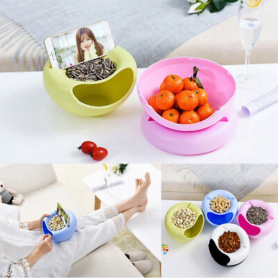 2 in 1 Layer Snack Fruit Plate Bowl Dish With Phone Holder For Home Lazy Tools