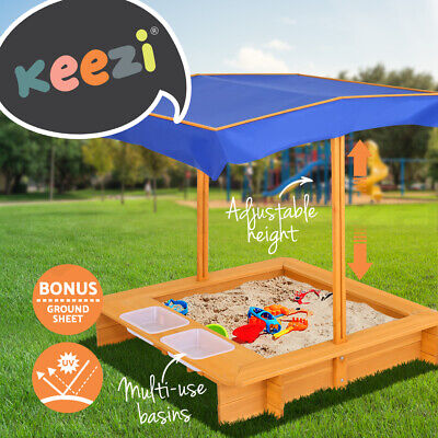 Keezi Kids Sandpit Wooden Outdoor Play Sand Pit Water Toys Box Canopy Children