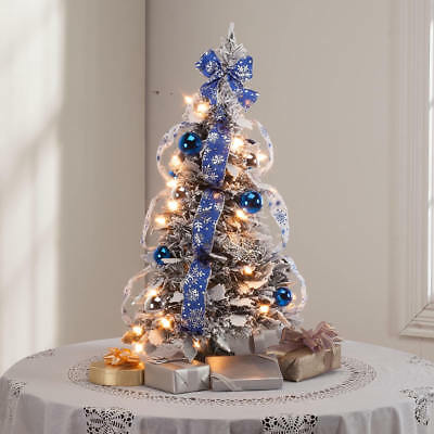 2 foot tall pop up fully decorated pre lit silver blue frosted christmas tree - Fully Decorated Tabletop Christmas Tree