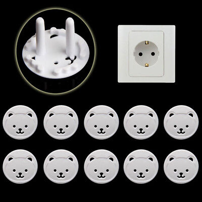 10Pcs Power Kid Socket Cover Baby Child Protectors Guard Mains Point Plug Bear