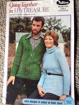 Vintage Patons Knitting Pattern Book 423 Going Together In 5 Ply Treasure