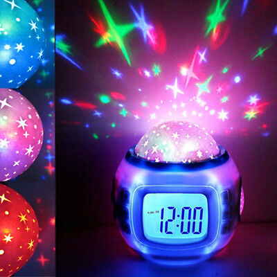 Music LED Star Sky Projection Digital Alarm Alert Clock Calendar Thermometer Kid