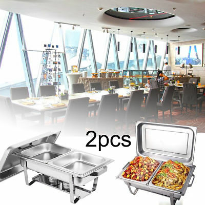2PCS Stainless Steel Chafing Dish Buffet Stoves Caterer Food Warmer Tray Serving