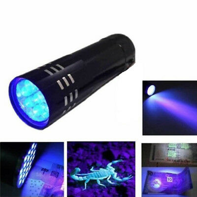 UV Ultra Violet 9 LED Flashlight Mini Blacklight Tactical Torch Light Lamp 2019