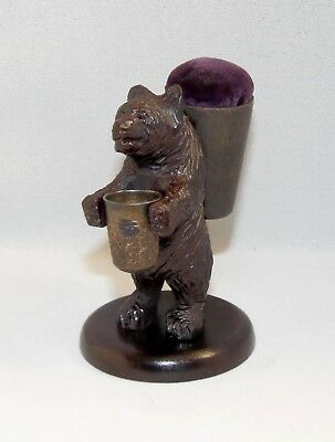 Antique, Carved Black Forest Bear, Pin Cushion, Thimble Holder, & Thimble Ch 9.