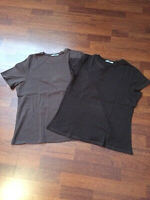 Marks & Spencer 2 Brown T Shirts, Size 16