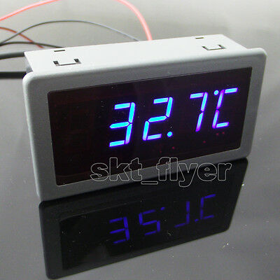 "0.56"" F/C Blue LED Digital 12V DC Car Meter Thermometer -55-125°C DS18B20 Sensor"
