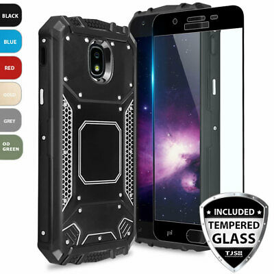 For Samsung Galaxy J7 Crown Metal Magnetic Support Case+Black Tempered Glass