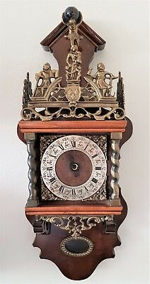 Clock Case Warmink Zaanse Dutch Vintage Nut Wood With Original Bell Atlas Man