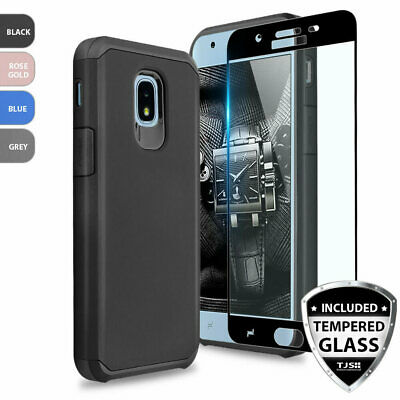For Samsung Galaxy J7 Crown/Star/V 2018 Rubber Phone Case+Black Tempered Glass