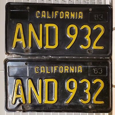 Pair 1963 yellow on black California license plates, DMV clear AND 932