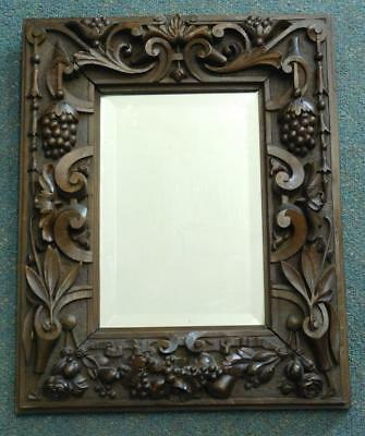 Heavy Chunky Hand Carved Australian Wooden Framed Bevelled Glass Mirror c1900s