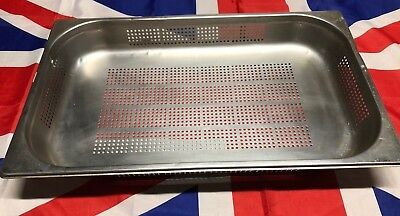 GN 1/1 60mm Deep Stainless Steel Perforated Strainer Gastronorm Serving USED