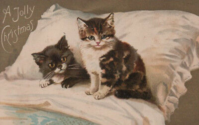 HELENA MAGUIRE ~ PRECIOUS BEDTIME Litho KITTENS Cats GOLD EMBEL. EARLY PC GEM!