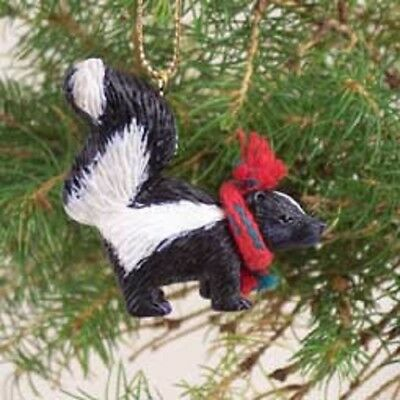 Cute SKUNK Scarf ORNAMENT resin HAND PAINTED FIGURINE Christmas Holiday ANIMAL