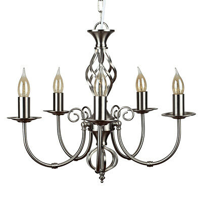 Traditional Satin Nickle Wrought Iron Twist 5 Way Chandelier Ceiling Light Lamp