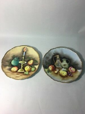 Pair VINTAGE Plates 10 inch Gold edge Fruit Porcelain Glass wall hanging