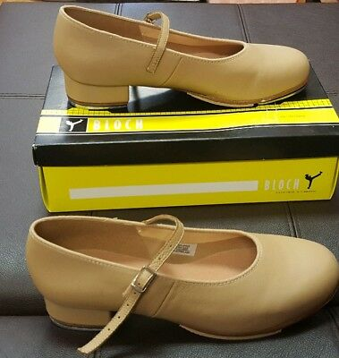 Tap Shoe S0302L Tan Mary Jane Buckle Leather Adult St Sz 9.5-10 Bloch Size 10.5M