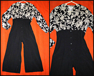 Vintage 80S Coppernob Cropped Wide Leg Jumpsuit Catsuit Playsuit Uk 10 12