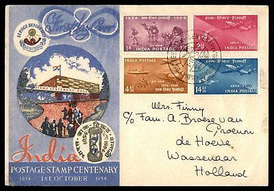 India Postage Stamp Centenary FDC 1954 To Netherlands Writing on Back & Light Cr