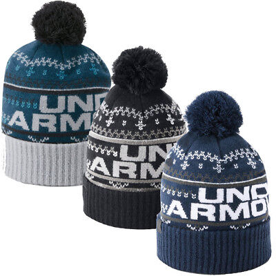 Under Armour Beanie Hat Mens Retro Pom Bobble Beanie 3.0 Golf Ski Snow New 2019