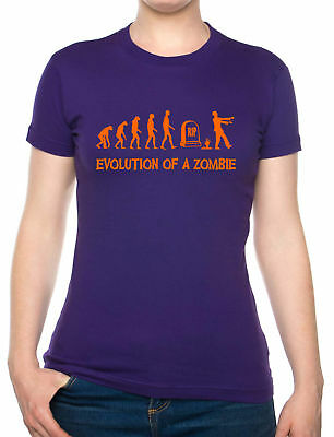 Evolution Of Zombie Halloween Fancy Dress Ghost Scary Funny Ladies T-Shirt
