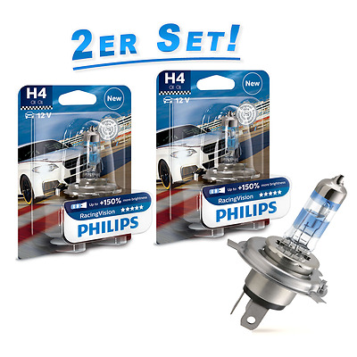 Philips H4 Lampe Racing Vision +150% mehr Sicht 2St. RacingVision Halogenlampen