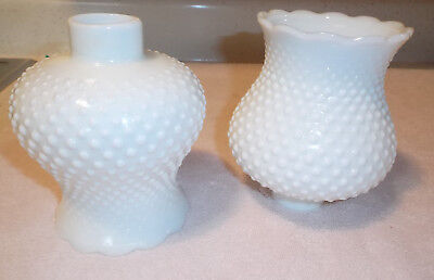 2 Vintage White Hobnail Milk Glass Lamp Light Shades Hurricane Chandelier