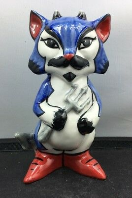Lovely Signed Lorna Bailey Devil Blue & White Cat Figurine Made In England SU99