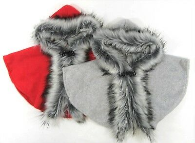 Baby Girls Cape Poncho Hood Red Grey Faux Fur Trim Hooded Arm Holes 6 12 24 M