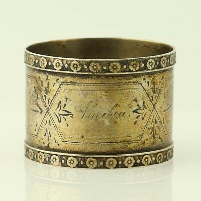 Vintage Round Napkin Ring - Silver Plate Monogrammed Floral Accents