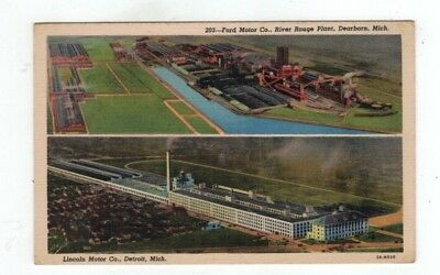 MI Michigan 1949 linen post card Views of two Different Ford Motor Plants