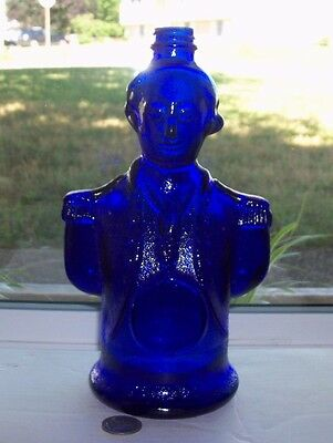 Nice Art Glass Vintage Blue George Washington Bottle