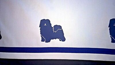 Havanese Dog Valance white with navy dogs and ribbon SALE