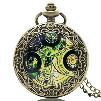 Old Retro Pocket Watch Doctor Who Design Quartz Fob Watch With Chain Necklace