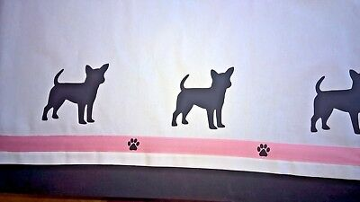 Chihuahua Dog Valance white with black dogs & pink ribbon Sample SALE