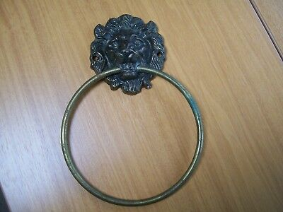 Vintage Brass Lion Door Knocker & Large Brass Ring Knocker Marked England