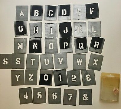 Vintage Metal Stencil Letters & Numbers Lot of 36 Full Alphabet Architectural